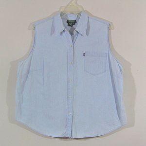 Ralph Lauren Plus Size Sleeveless Denim Shirt 2X